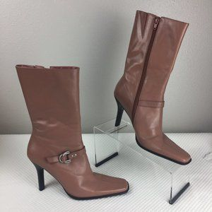 Square Toe Leather Boots size 8.5 in Dusty Pink